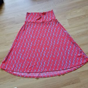 LuLaRoe Azure A line orange printed midi skirt M.
